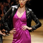 Runway model wearing leather