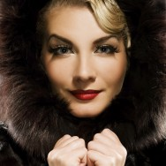 Beautiful woman in winter fur coat. Retro potrait